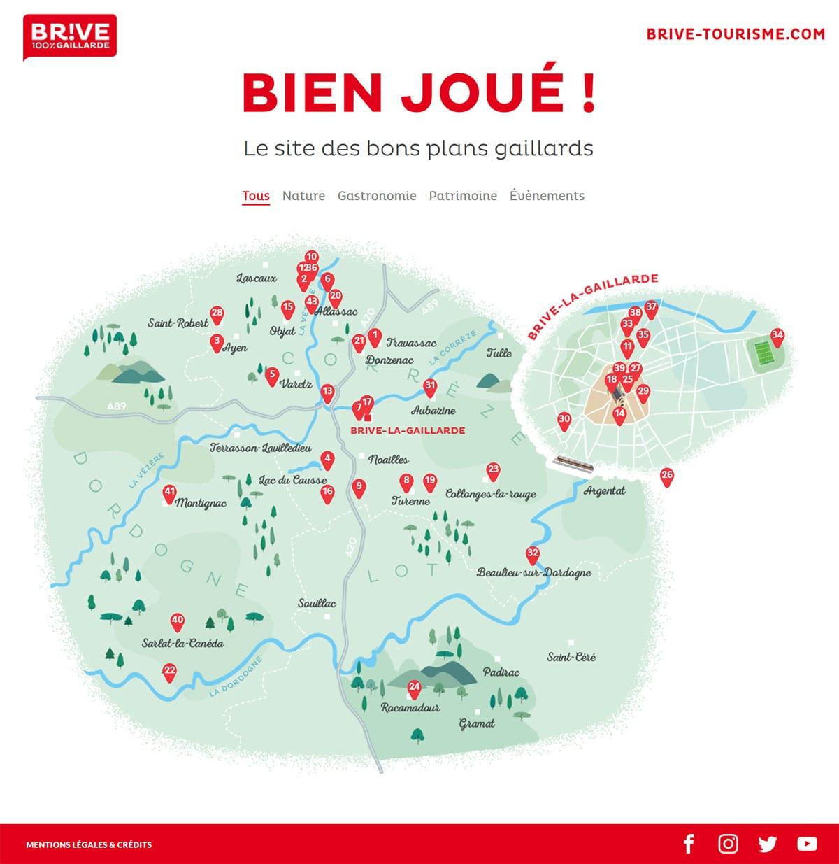 Mini site Carte Bons plans Brive Tourisme