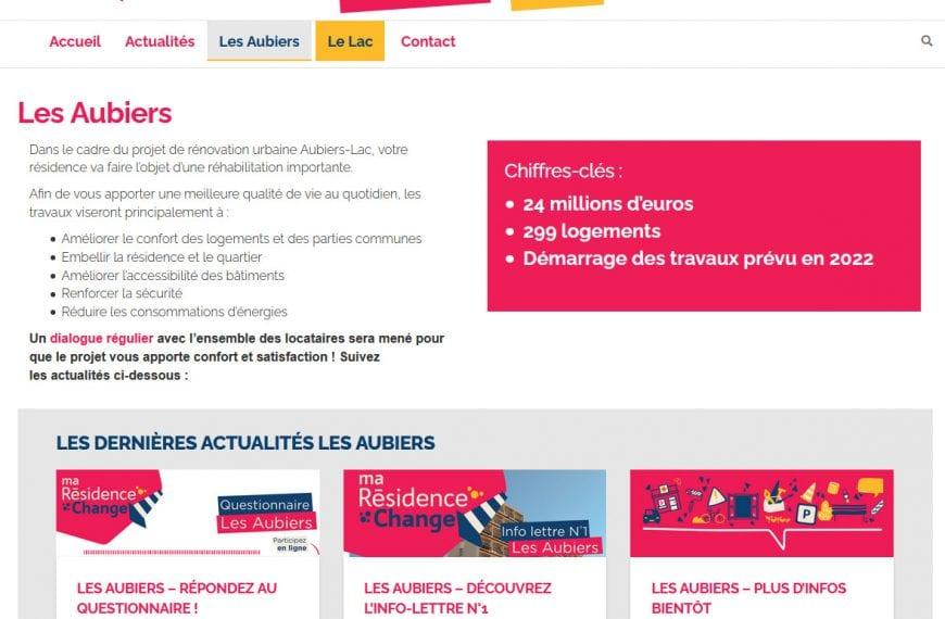 Réalisation d'un mini-site pour Domofrance, informations autour de la rénovation des HLM Aubiers et Lac